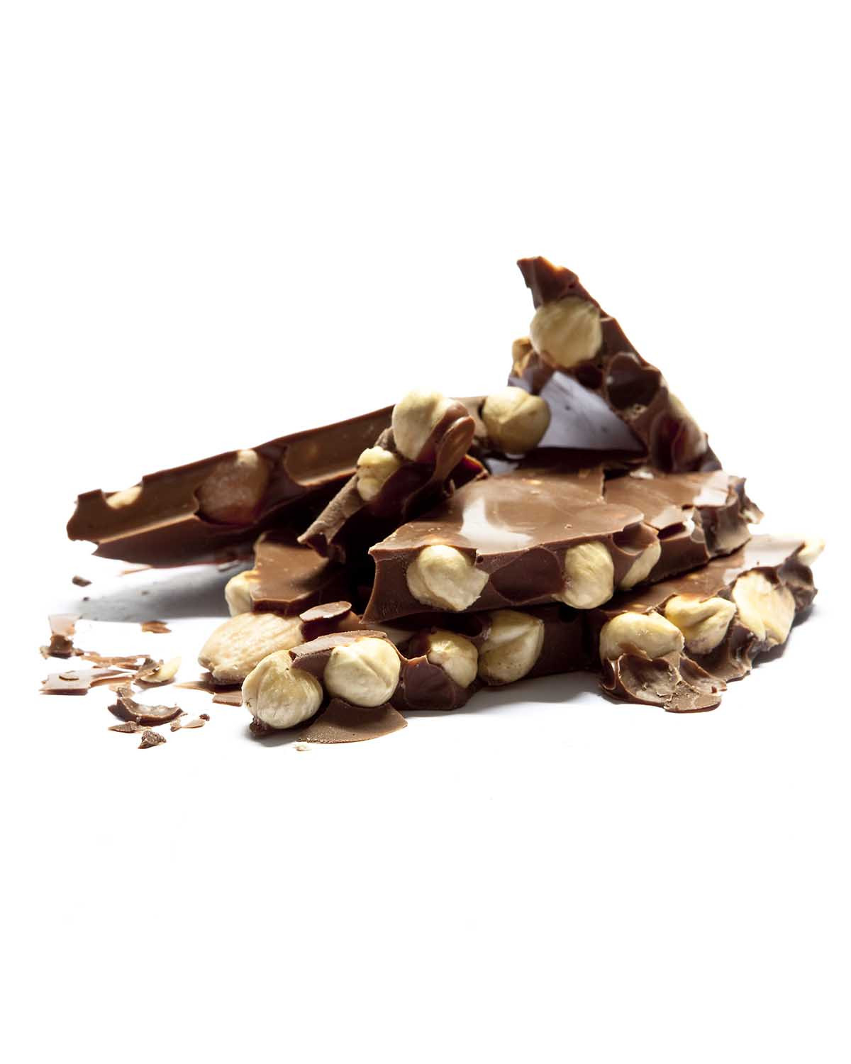 Milk chocolate slabs with nuts